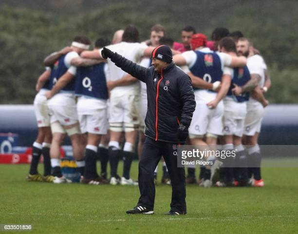 Eddie Jones the England head coach looks on during the England training session held at Pennyhill Park on February 2 2017 in Bagshot England