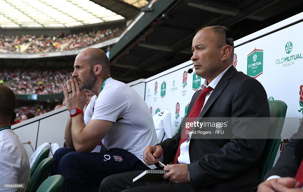 <a gi-track='captionPersonalityLinkClicked' href=/galleries/search?phrase=Eddie+Jones+-+Rugby+Coach&family=editorial&specificpeople=13966519 ng-click='$event.stopPropagation()'>Eddie Jones</a>, (R) the England head coach looks on with defence coach <a gi-track='captionPersonalityLinkClicked' href=/galleries/search?phrase=Paul+Gustard&family=editorial&specificpeople=2156613 ng-click='$event.stopPropagation()'>Paul Gustard</a> during the England v Wales International match at Twickenham Stadium on May 29, 2016 in London, England.