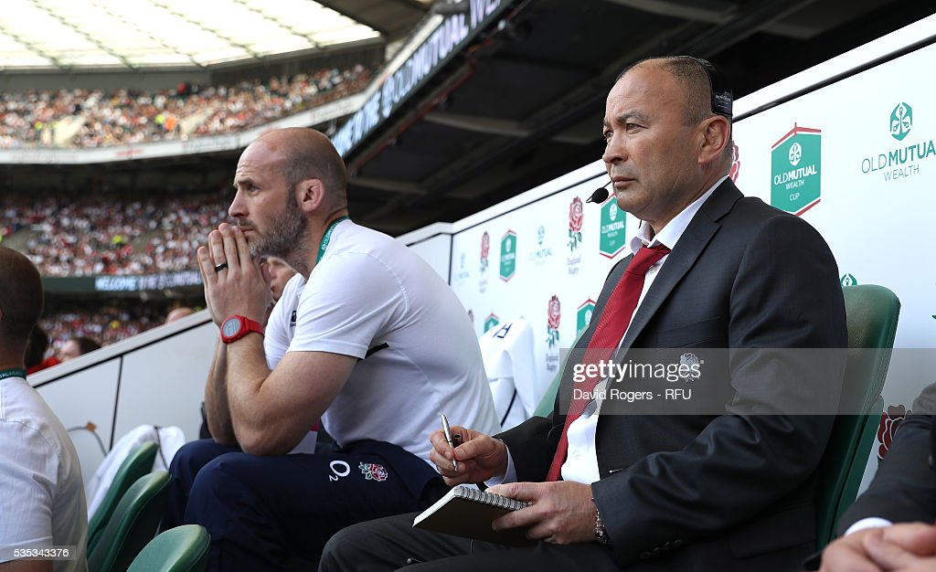 <a gi-track='captionPersonalityLinkClicked' href=/galleries/search?phrase=Eddie+Jones+-+Rugbycoach&family=editorial&specificpeople=13966519 ng-click='$event.stopPropagation()'>Eddie Jones</a>, (R) the England head coach looks on with defence coach <a gi-track='captionPersonalityLinkClicked' href=/galleries/search?phrase=Paul+Gustard&family=editorial&specificpeople=2156613 ng-click='$event.stopPropagation()'>Paul Gustard</a> during the England v Wales International match at Twickenham Stadium on May 29, 2016 in London, England.