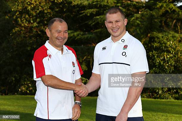 Eddie Jones the England Head Coach shakes hands with Dylan Hartley the newly appointed England Captain during the England EPS Six Nations Squad...