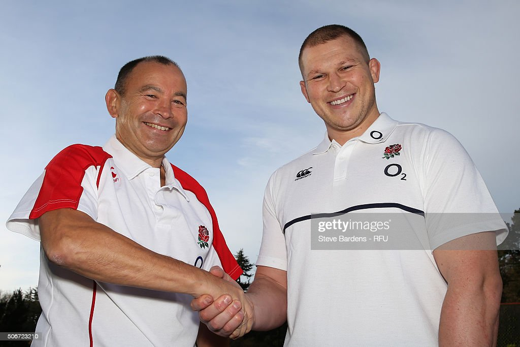 <a gi-track='captionPersonalityLinkClicked' href=/galleries/search?phrase=Eddie+Jones+-+Rugby+Coach&family=editorial&specificpeople=13966519 ng-click='$event.stopPropagation()'>Eddie Jones</a> the England Head Coach shakes hands with <a gi-track='captionPersonalityLinkClicked' href=/galleries/search?phrase=Dylan+Hartley&family=editorial&specificpeople=764177 ng-click='$event.stopPropagation()'>Dylan Hartley</a>, the newly appointed England Captain during the England EPS Six Nations Squad Portrait session at Pennyhill Park on January 25, 2016 in Bagshot, England.