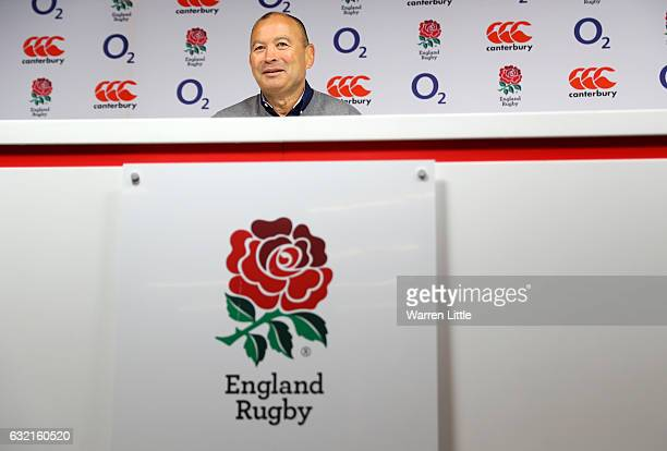 Eddie Jones the England head coach talks during the England RBS 6 Nations Squad announcement at Twickenham Stadium on January 20 2017 in London...
