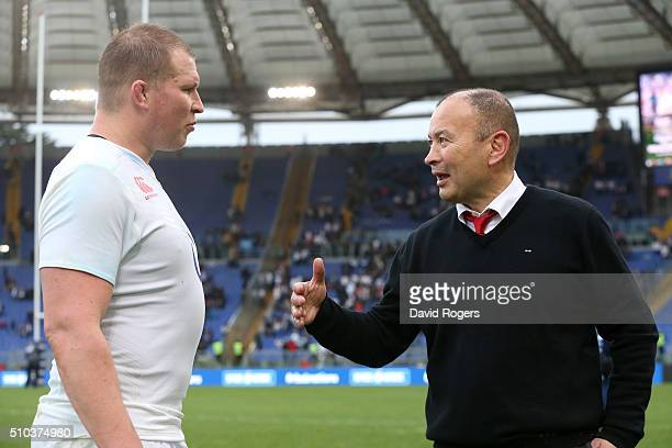 Eddie Jones the England head coach talks to his captain Dylan Hartley after their victory during the RBS Six Natiions match between Italy and England...
