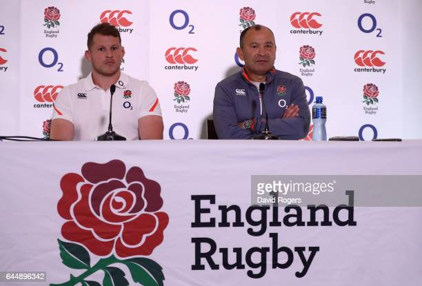 Eddie Jones the England head coach talks to the media with his captain Dylan Hartley during the England press conference held at Pennyhill Park on...