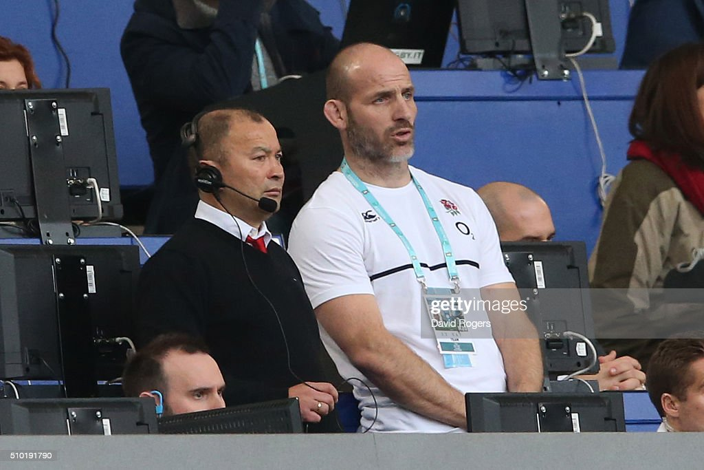 <a gi-track='captionPersonalityLinkClicked' href=/galleries/search?phrase=Eddie+Jones+-+Rugby+Coach&family=editorial&specificpeople=13966519 ng-click='$event.stopPropagation()'>Eddie Jones</a> the head coach of England and his assistant coach <a gi-track='captionPersonalityLinkClicked' href=/galleries/search?phrase=Paul+Gustard&family=editorial&specificpeople=2156613 ng-click='$event.stopPropagation()'>Paul Gustard</a> look on during the RBS Six Nations match between Italy and England at the Stadio Olimpico on February 14, 2016 in Rome, Italy.