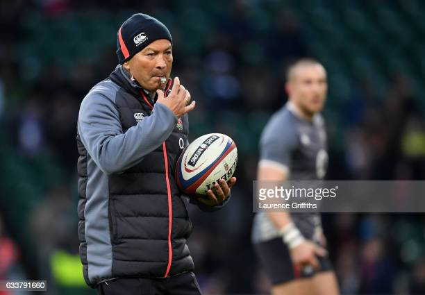Eddie Jones the head coach of England brows a whistle during the RBS Six Nations match between England and France at Twickenham Stadium on February 4...