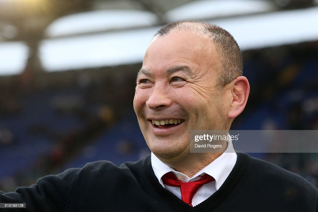<a gi-track='captionPersonalityLinkClicked' href=/galleries/search?phrase=Eddie+Jones+-+Rugby+Coach&family=editorial&specificpeople=13966519 ng-click='$event.stopPropagation()'>Eddie Jones</a> the head coach of England celebrates following his team's 40-9 victory during the RBS Six Nations match between Italy and England at the Stadio Olimpico on February 14, 2016 in Rome, Italy.