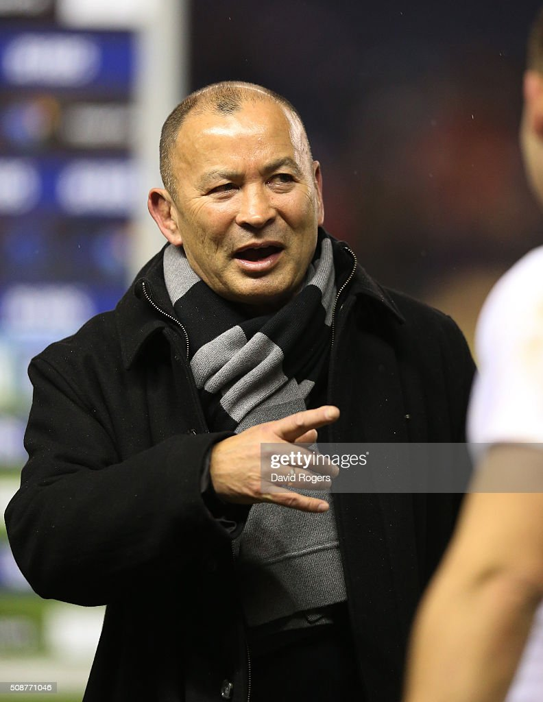 <a gi-track='captionPersonalityLinkClicked' href=/galleries/search?phrase=Eddie+Jones+-+Rugby+Coach&family=editorial&specificpeople=13966519 ng-click='$event.stopPropagation()'>Eddie Jones</a> the head coach of England speaks with Dylan Hartley of England following their team's victory during the RBS Six Nations match between Scotland and England at Murrayfield Stadium on February 6, 2016 in Edinburgh, Scotland.