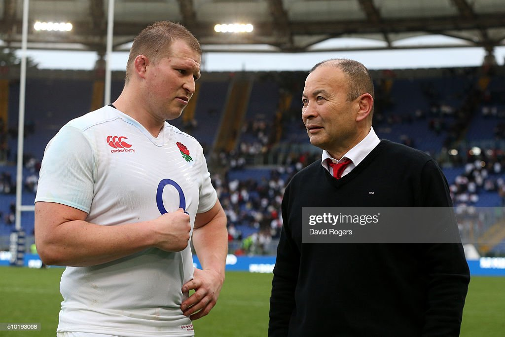 <a gi-track='captionPersonalityLinkClicked' href=/galleries/search?phrase=Eddie+Jones+-+Rugby+Coach&family=editorial&specificpeople=13966519 ng-click='$event.stopPropagation()'>Eddie Jones</a> the head coach of England speaks with England captain <a gi-track='captionPersonalityLinkClicked' href=/galleries/search?phrase=Dylan+Hartley&family=editorial&specificpeople=764177 ng-click='$event.stopPropagation()'>Dylan Hartley</a> following their team's 40-9 victory during the RBS Six Nations match between Italy and England at the Stadio Olimpico on February 14, 2016 in Rome, Italy.