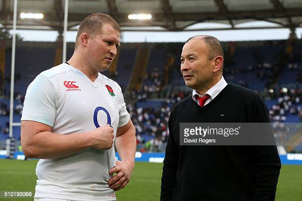 Eddie Jones the head coach of England speaks with England captain Dylan Hartley following their team's 409 victory during the RBS Six Nations match...