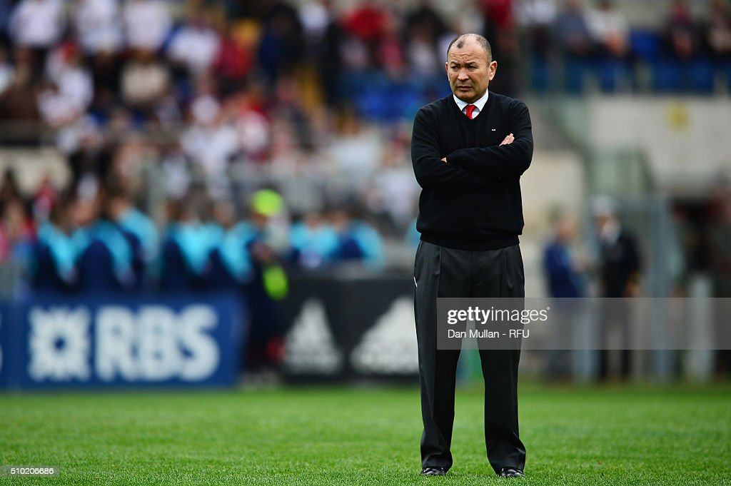 <a gi-track='captionPersonalityLinkClicked' href=/galleries/search?phrase=Eddie+Jones+-+Rugby+Coach&family=editorial&specificpeople=13966519 ng-click='$event.stopPropagation()'>Eddie Jones</a> the head coach of England watches over his team's pre match warm up during the RBS Six Nations match between Italy and England at the Stadio Olimpico on February 14, 2016 in Rome, Italy.