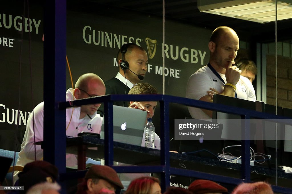 <a gi-track='captionPersonalityLinkClicked' href=/galleries/search?phrase=Eddie+Jones+-+Rugbycoach&family=editorial&specificpeople=13966519 ng-click='$event.stopPropagation()'>Eddie Jones</a> the head coach of England watches the action from the stands during the RBS Six Nations match between Scotland and England at Murrayfield Stadium on February 6, 2016 in Edinburgh, Scotland.