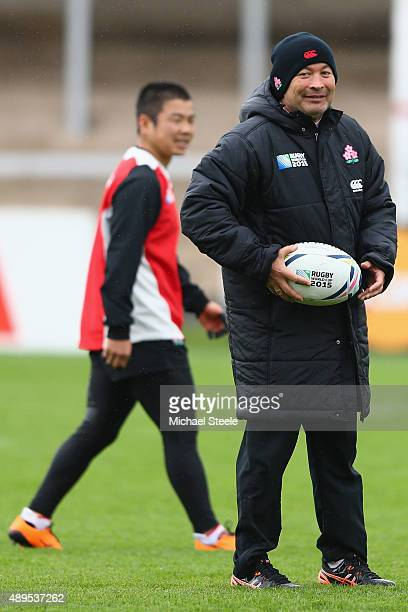 Eddie Jones the Head Coach of Japan during the Captain's Run ahead of the Japan versus Scotland Pool B match at Kingsholm Stadium on September 22...