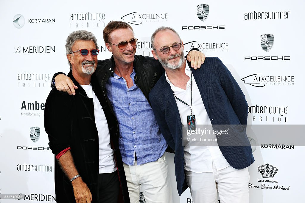 Eddie Jordan, <a gi-track='captionPersonalityLinkClicked' href=/galleries/search?phrase=Eddie+Irvine&family=editorial&specificpeople=211289 ng-click='$event.stopPropagation()'>Eddie Irvine</a> and actor <a gi-track='captionPersonalityLinkClicked' href=/galleries/search?phrase=Liam+Cunningham&family=editorial&specificpeople=549747 ng-click='$event.stopPropagation()'>Liam Cunningham</a> arrive at the Amber Lounge fashion show during previews to the Monaco Formula One Grand Prix at Circuit de Monaco on May 27, 2016 in Monte-Carlo, Monaco.