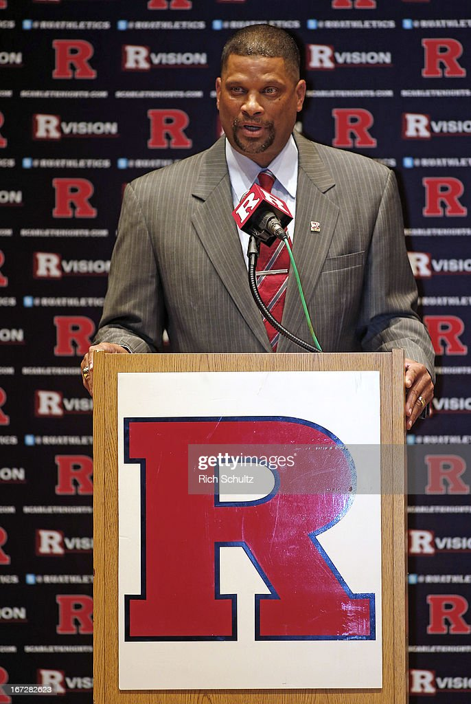 <a gi-track='captionPersonalityLinkClicked' href=/galleries/search?phrase=Eddie+Jordan+-+Basketballtrainer&family=editorial&specificpeople=15229664 ng-click='$event.stopPropagation()'>Eddie Jordan</a>, the former Rutgers star, is introduced as the school's head men's basketball coach on April 23, 2013 in New Brunswick, New Jersey. Jordan, who starred in the 1970s with Rutgers and made it to the Final Four in 1976, replaces Mike Rice who was fired after a video surfaced showing him physically and verbally abusing his players during practice.