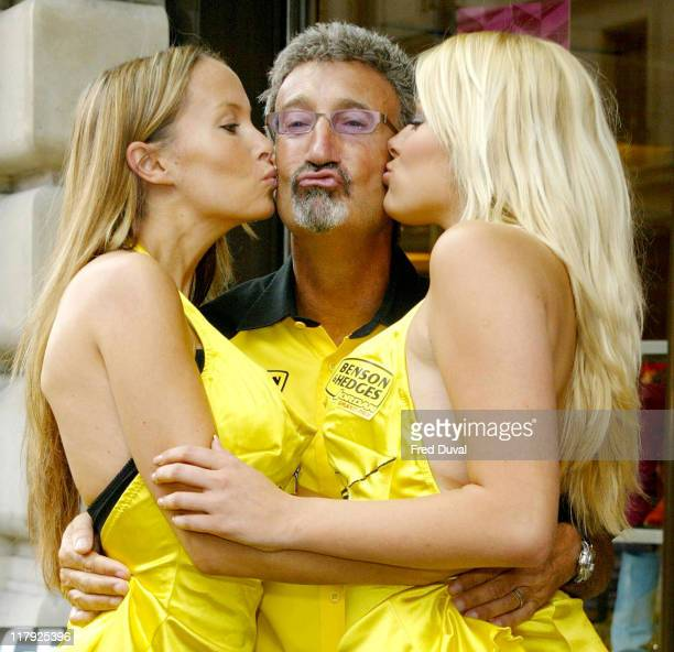 Eddie Jordan with pit babes Leah Newman on his left and Michelle Clack at the launch for the Regent Street Formula One Parade