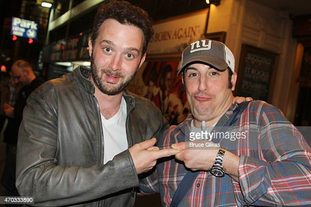 Eddie Kaye Thomas and Jason Biggs pose at 'The Heidi Chronicles' on Broadway at The Music Box Theater on April 18 2015 in New York City