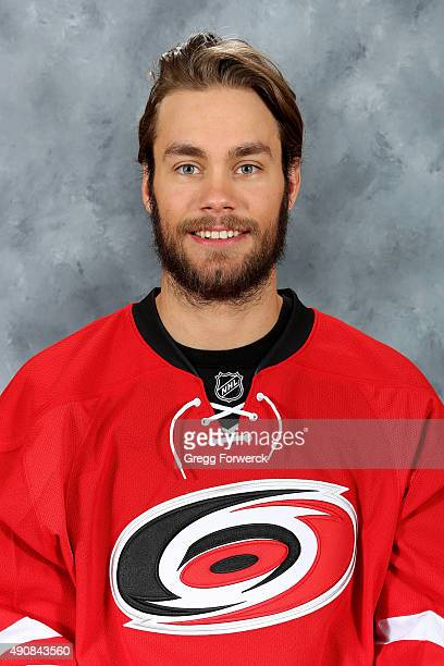 Eddie Lack of the Carolina Hurricanes poses for his official headshot for the 20152016 season on September 17 2015 at Carolina Family Practice in...