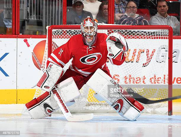 Eddie Lack of the Carolina Hurricanes squares in the crease to protect the net during a NHL game against the the Anaheim Ducks at PNC Arena on...