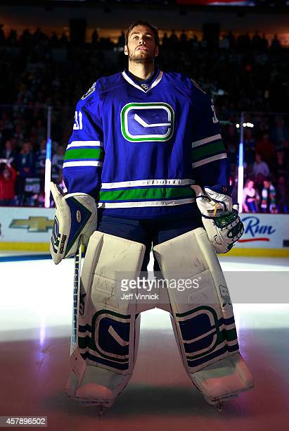 Eddie Lack of the Vancouver Canucks during their NHL game against theTampa Bay Lightning at Rogers Arena October 18 2014 in Vancouver British...