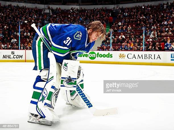 Eddie Lack of the Vancouver Canucks during their NHL game against the Anaheim Ducks at Rogers Arena March 29 2014 in Vancouver British Columbia...