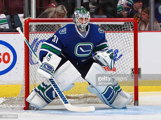 Eddie Lack of the Vancouver Canucks looks on from his crease during their NHL game against theTampa Bay Lightning at Rogers Arena October 18 2014 in...