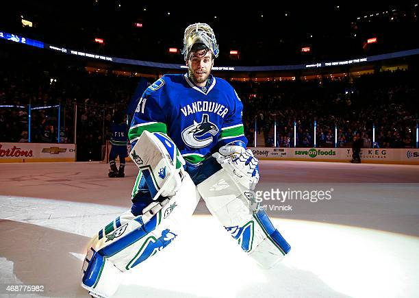 Eddie Lack of the Vancouver Canucks skates off the ice after being named first star during their NHL game against the Los Angeles Kings at Rogers...