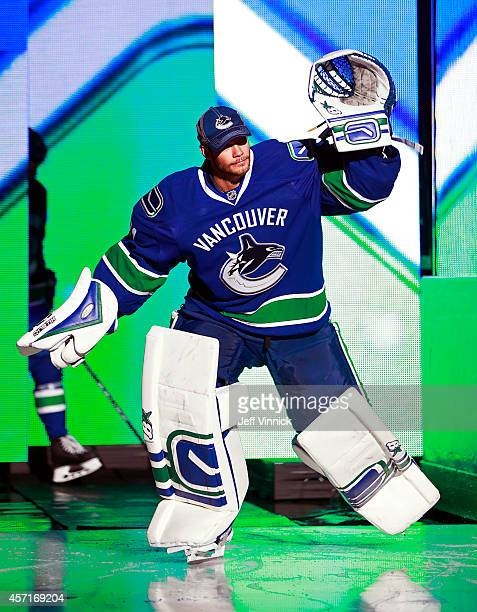 Eddie Lack of the Vancouver Canucks steps onto the ice during their NHL game against the Edmonton Oilers at Rogers Arena October 11 2014 in Vancouver...