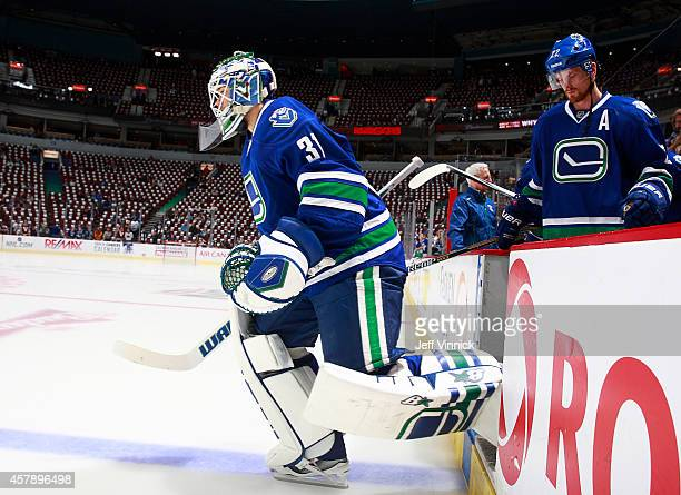 Eddie Lack of the Vancouver Canucks steps onto the ice during their NHL game against theTampa Bay Lightning at Rogers Arena October 18 2014 in...