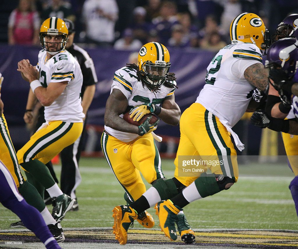 Eddie Lacy #27 of the Green Bay Packers carries the ball during an NFL game against the Minnesota Vikings at Mall of America Field at the Hubert H. Humphrey Metrodome on October 27, 2013 in Minneapolis, Minnesota.