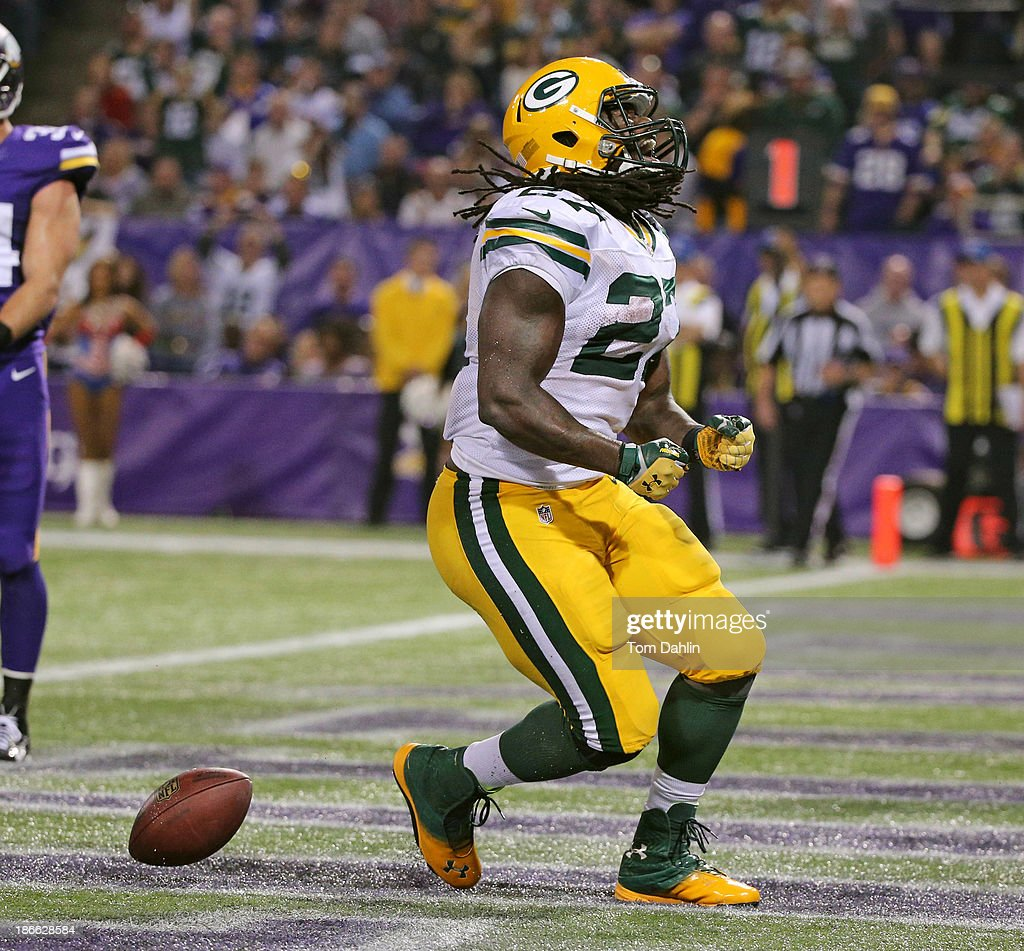 Eddie Lacy #27 of the Green Bay Packers celebrates a touchdown during an NFL game against the Minnesota Vikings at Mall of America Field at the Hubert H. Humphrey Metrodome on October 27, 2013 in Minneapolis, Minnesota.