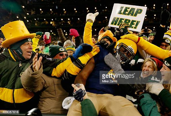 Eddie Lacy of the Green Bay Packers celebrates after scoring a touchdown against the Philadelphia Eagles during the second quarter of the game at...