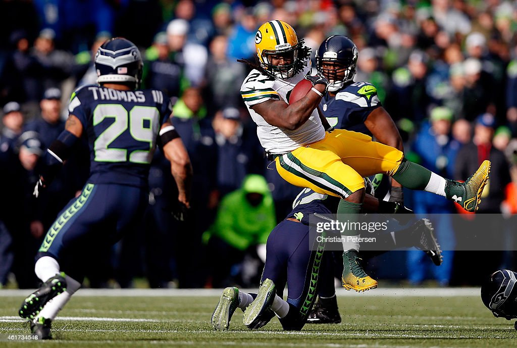 <a gi-track='captionPersonalityLinkClicked' href=/galleries/search?phrase=Eddie+Lacy&family=editorial&specificpeople=6902550 ng-click='$event.stopPropagation()'>Eddie Lacy</a> #27 of the Green Bay Packers runs the ball in the first half against the Seattle Seahawks during the 2015 NFC Championship game at CenturyLink Field on January 18, 2015 in Seattle, Washington.