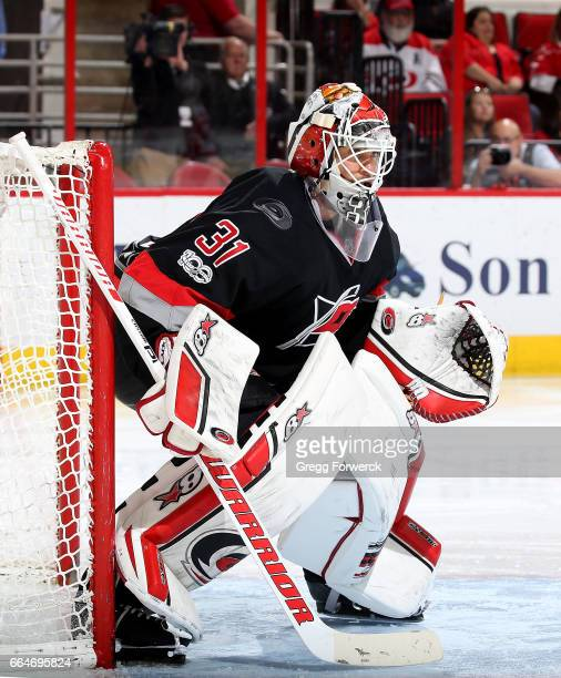 Eddie Lask of the Carolina Hurricanes crouches in the crease to protect the net during an NHL game against the Detroit Red Wings on March 27 2017 at...