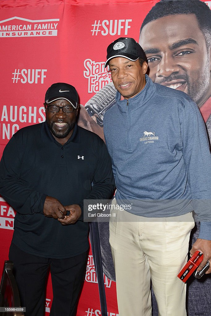 Eddie Levert and Tony Cornelius pose for a photo at the First Annual Soul Train Celebrity Golf Invitational on November 9, 2012 in Las Vegas, Nevada.