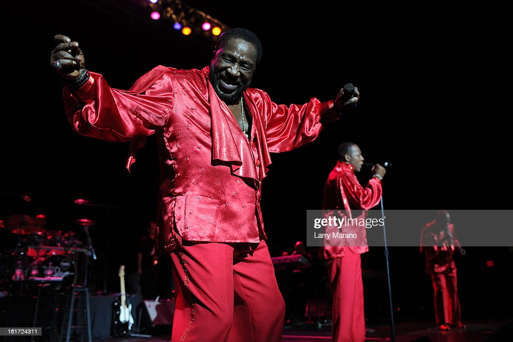 Eddie Levert, Eric Grant and Walter Williams of The O Jays perform at Hard Rock Live! in the Seminole Hard Rock Hotel & Casino on February 14, 2013 in Hollywood, Florida.