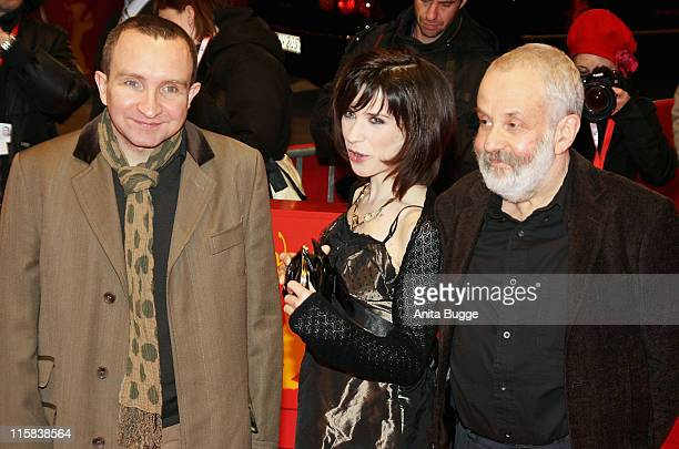 Eddie Marsan Sally Hawkins and Mike Leigh director attends the 'Happy Go Lucky' premiere during day six of the 58th Berlinale International Film...