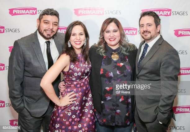 Eddie Martinez Annie Dow Tanya Saracho and Jerry Ruiz attend 'Fade' Broadway opening night at Mr Dennehyâ on February 8 2017 in New York Cit