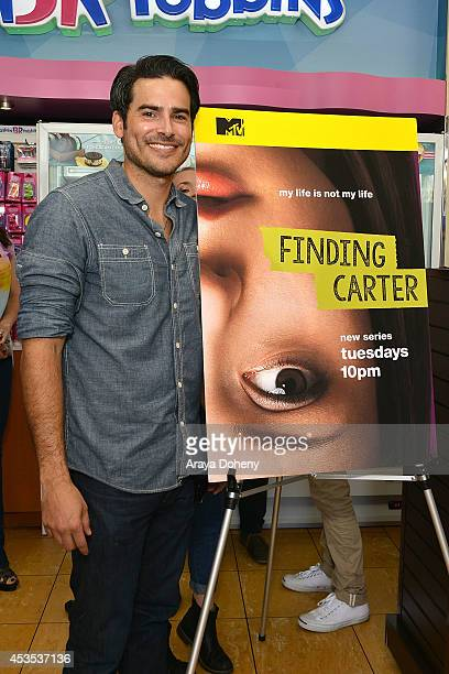Eddie Matos attends MTV's 'Finding Carter' fan event and to celebrate the twins Carter and Taylor's birthday at BaskinRobbins on August 12 2014 in...