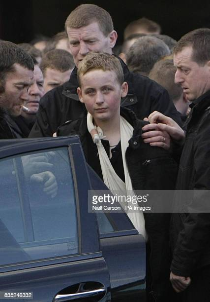 Eddie McDonagh who survived a house fire that killed his three brothers during the funeral of brothers James Anthony and Martin McDonagh at Our Lady...