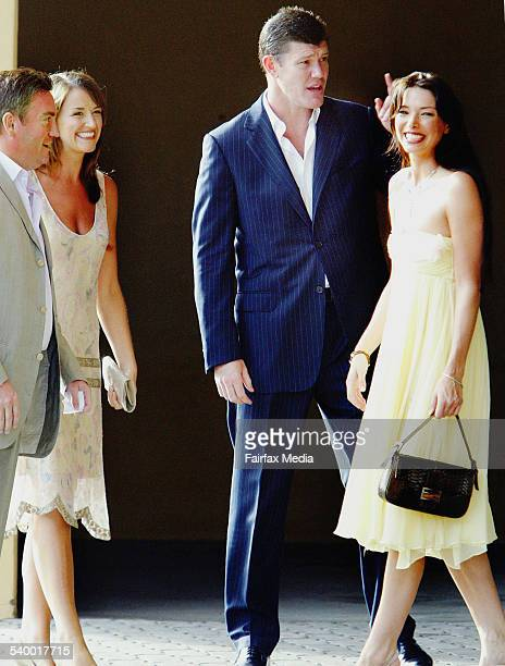 Eddie McGuire and his wife Carla left join James Packer and girlfriend Erica Baxter at the wedding of David Gyngell and Leila McKinnon in Byron Bay...