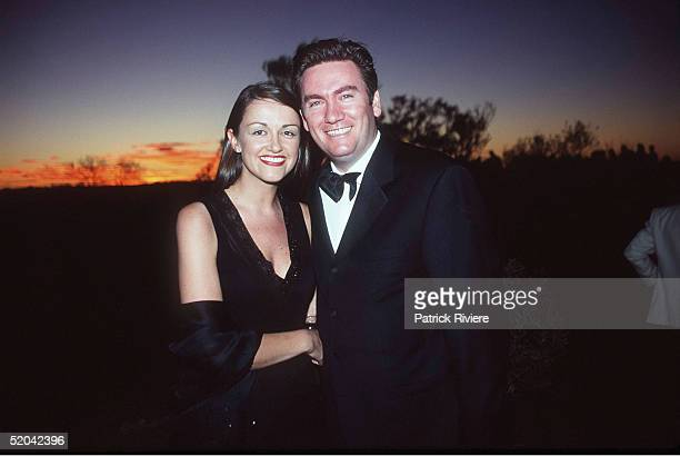 12 DECEMBER 1999 Eddie McGuire and wife Carla at the Cats Run Away to the Circus gala evening in the majestic Cats Big Top in the shadows of Uluru...