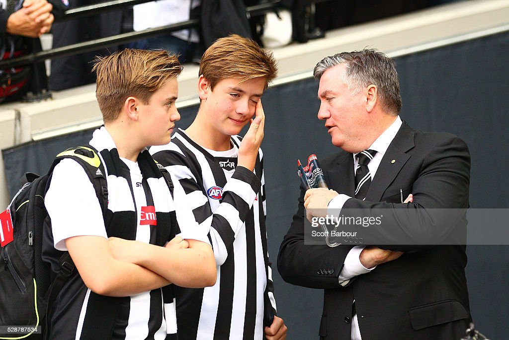 Eddie McGuire Collingwood Football Club President watches the Magpies leave the field after losing the round seven AFL match between the Collingwood...