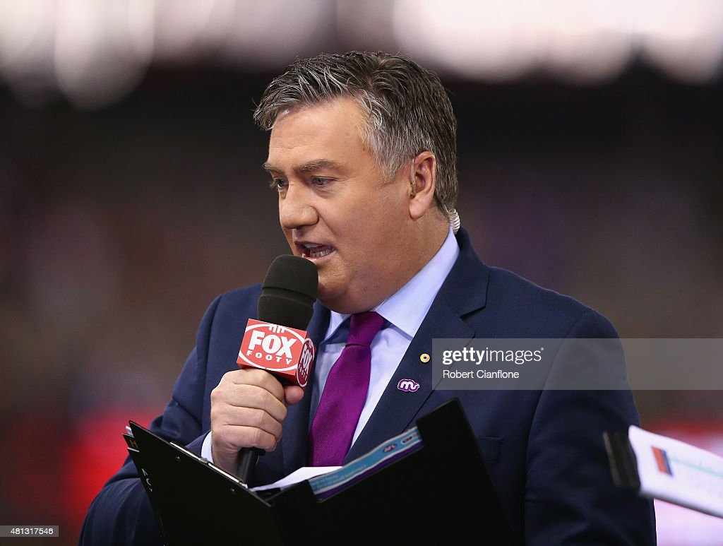 Eddie McGuire commentates prior to the round 16 AFL match between the St Kilda Saints and the Richmond Tigers at Etihad Stadium on July 19 2015 in...