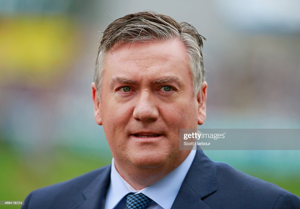 Eddie McGuire looks on during the round two AFL match between the Geelong Cats and the Fremantle Dockers at Simonds Stadium on April 12 2015 in...