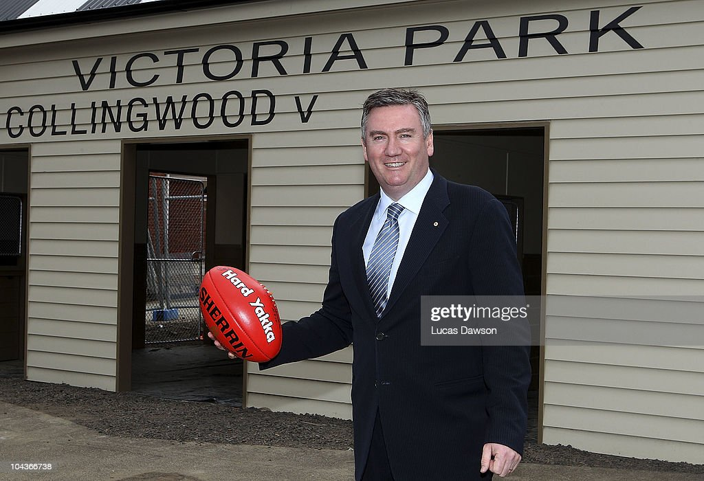 Eddie McGuire poses for a photo after announcing a new community centre at Victoria Park during a Collingwood Magpies AFL media session on September...