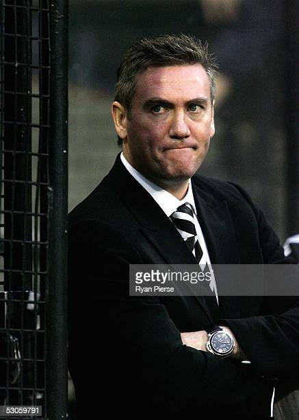 Eddie McGuire President of the Magpies looks dejected after the round twelve AFL match between the Melbourne Demons and the Collingwood Magpies at...