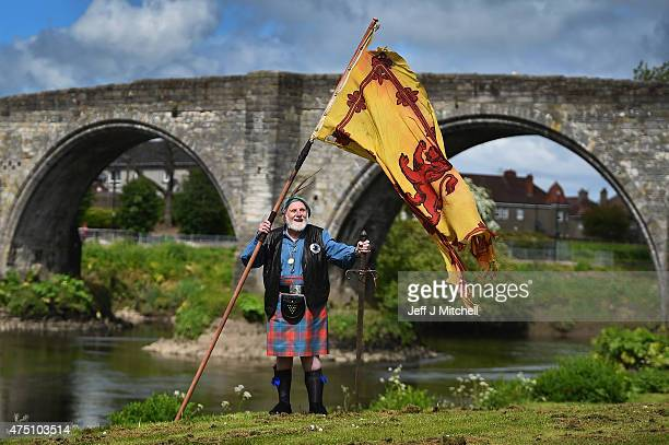 Eddie McNeill from the Wallace Soiciety attends attend a ceremony at the Stirling Bridge Battle Site as the Saltire was raised for the first time in...