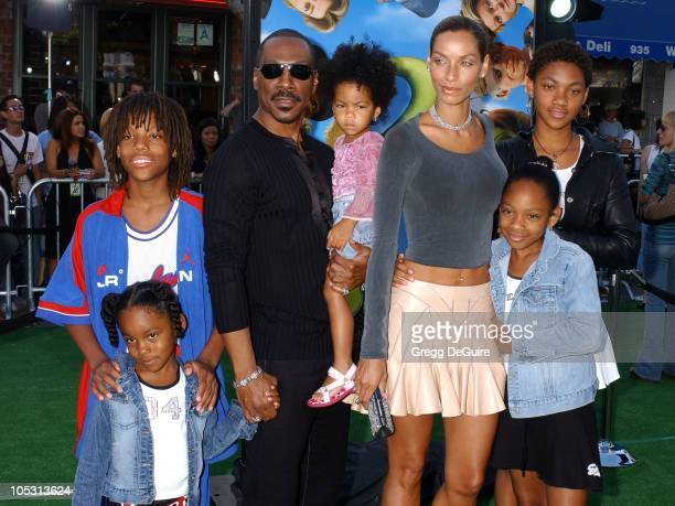 Eddie Murphy and family during 'Shrek 2' Los Angeles Premiere at Mann Village Theatre in Westwood California United States