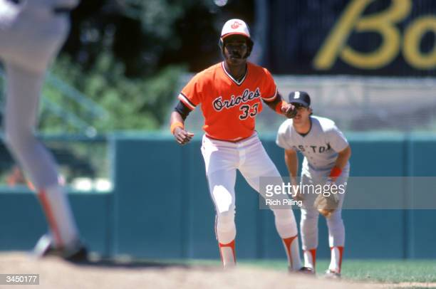 Eddie Murray of the Baltimore Orioles leads off base during a July 1980 game against the Red Sox at Memorial Stadium in Baltimore Maryland